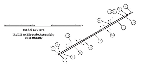 Aero 0311-961307 Roller Bar Assembly for Electric Systems