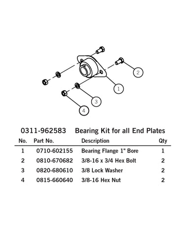 Aero 0311-962583 Bearing Kit for all End Plates - Roll Off Trailer Parts