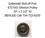 Galbreath 6727AO - Cable Sheave, 10 in X 2-1/2 in ID
