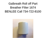Galbreath 1674 - Breather Filter - Roll Off Trailer Parts