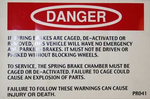 Danger Spring Brake Caged