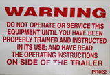 Warning Do Not Operate - Roll Off Trailer Parts