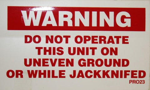 Warning Do Not Jack Knife - Roll Off Trailer Parts