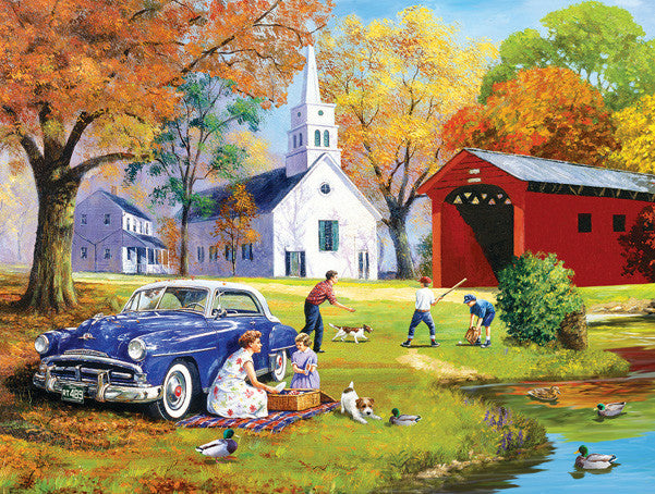 Family Time by the River Jigsaw Puzzle 500 Pieces Kevin Walsh - Mr Puzzle Head