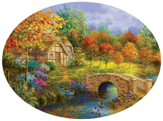 Beautiful Autumn Jigsaw Puzzle 600 Oval Shaped Nicky Boehme - Mr Puzzle Head