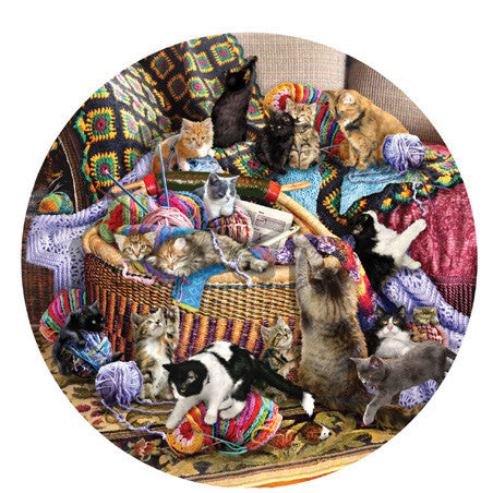 The Knitting Circle Jigsaw Puzzle 1,000 Round Shaped Pieces Lori Schory - Mr Puzzle Head