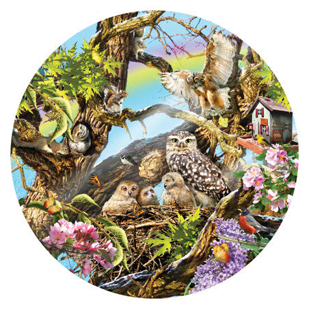 Family of Owls Jigsaw Puzzle 1,000 Round Shaped Pieces Lori Schory - Mr Puzzle Head