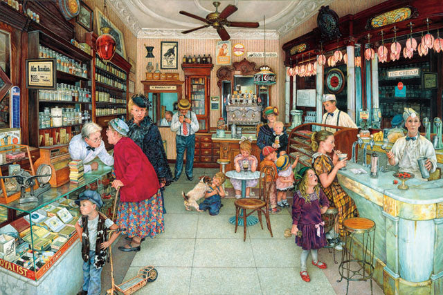 Soda Fountain Jigsaw Puzzle 1,000 Pieces Susan Brabeau - Mr Puzzle Head