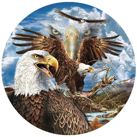 13 Eagles Jigsaw Puzzle 1,000 Round Shaped Pieces Stephen Michael Gardner - Mr Puzzle Head
