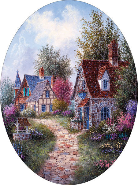 Wishing Well Lane Jigsaw Puzzle 600 Oval Shaped Dennis Lewan - Mr Puzzle Head
