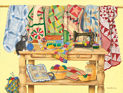 The Quilt Table Jigsaw Puzzle 500 Pieces Kay Lamb Shannon - Mr Puzzle Head