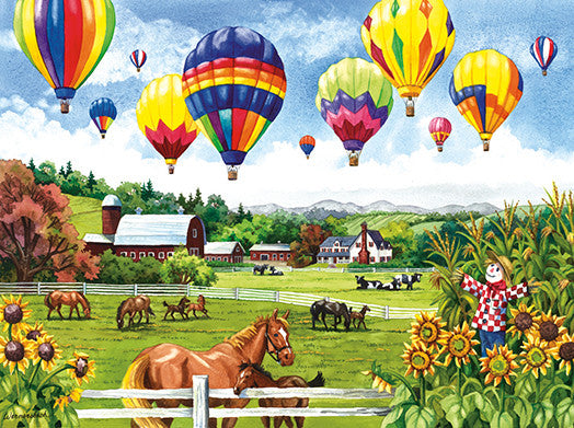 Balloons over Fields Jigsaw Puzzle 500 Pieces Nancy Wernersbach - Mr Puzzle Head