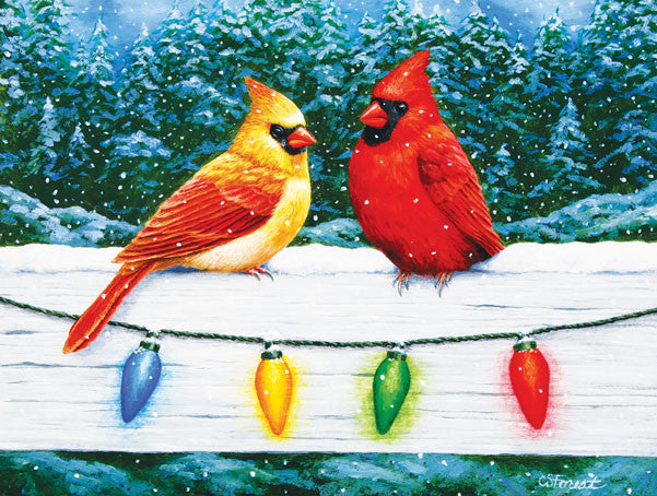 Christmas Cardinal Greeting Jigsaw Puzzle 300 Pieces Christa Forest - Mr Puzzle Head