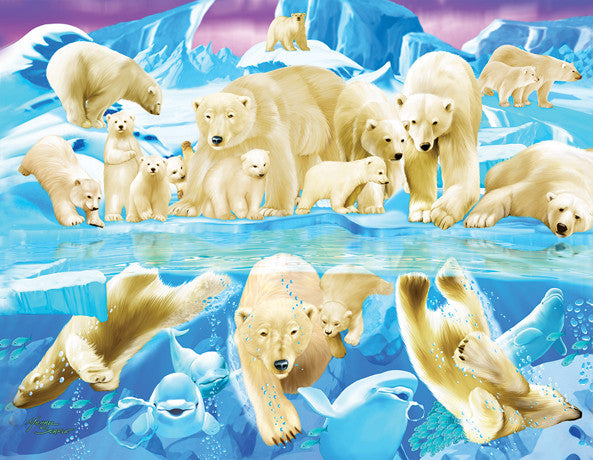 Polar Bear Plunge Jigsaw Puzzle 63 Pieces Michael Searle - Mr Puzzle Head