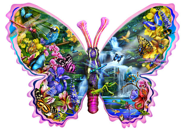 Butterfly Waterfall Jigsaw Puzzle 1,000 Shaped Pieces Lori Schory - Mr Puzzle Head