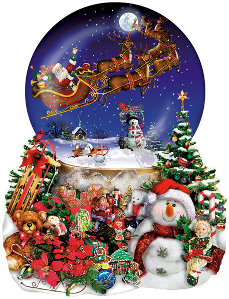 Santa's Snowy Ride Jigsaw Puzzle 1,000 Shaped Pieces Lori Schory - Mr Puzzle Head