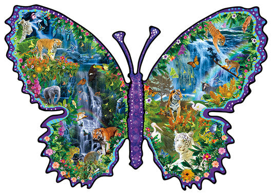 Rainforest Butterfly Jigsaw Puzzle 1,000 Shaped Pieces Alixandra Mullins - Mr Puzzle Head