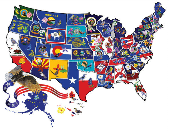 America the Beautiful Jigsaw Puzzle 600 Shaped Pieces Joseph Burgess - Mr Puzzle Head