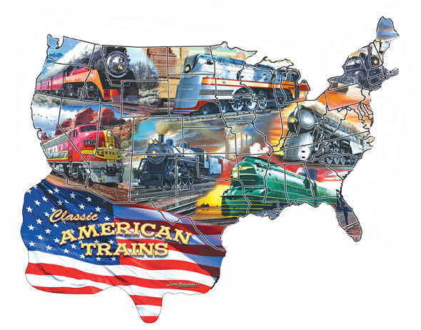 Classic American Trains Jigsaw Puzzle 600 Shaped Pieces Larry Grossman - Mr Puzzle Head