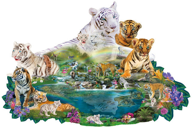 Tigers at the Pool Jigsaw Puzzle 1,000 Shaped Pieces Alixandra Mullins - Mr Puzzle Head