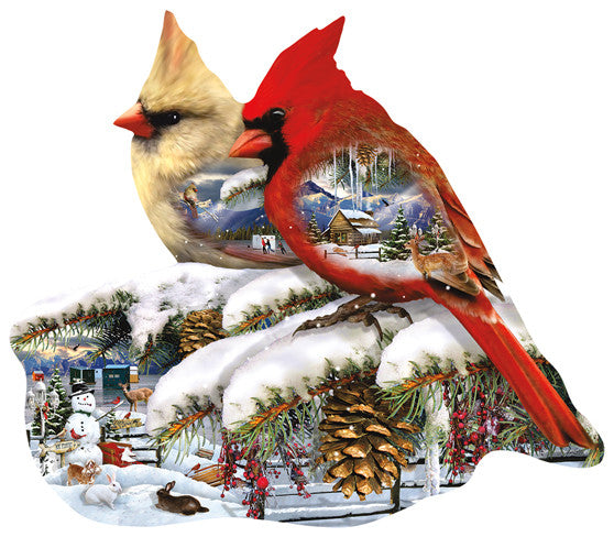 Winter Cardinals Jigsaw Puzzle