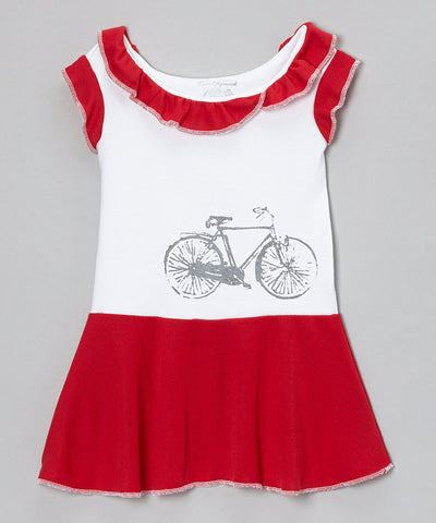 Flapper T-Shirt Dress - Red Bike