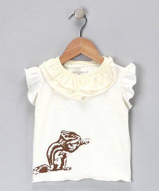 Ruffled T-Shirt - White Chipmunk