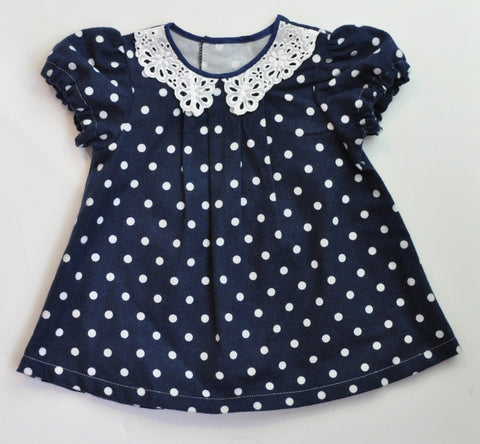 Annie Dress - Navy Dot