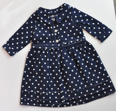 Shirt Dress - Navy Dot