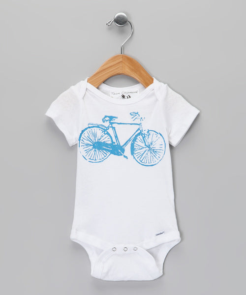 Infant Onesie in Blue Bike