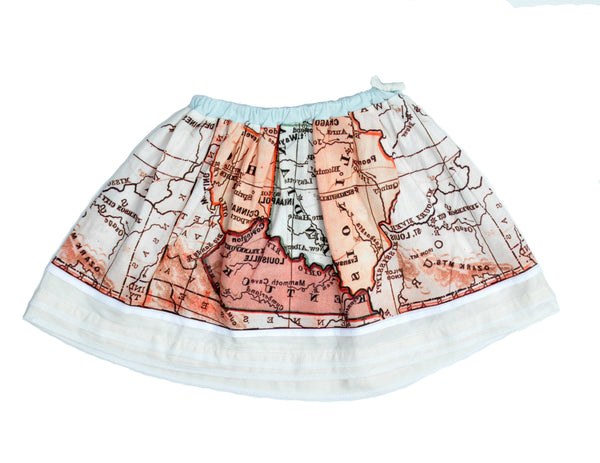 Womens Skirt - Map Print