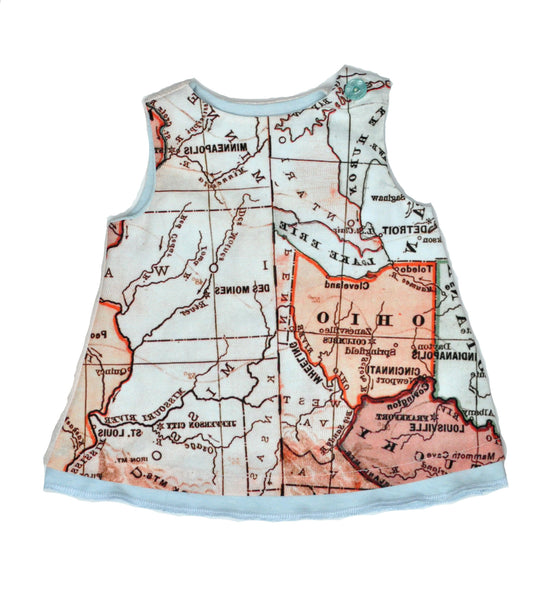 Mod Dress in Map Print