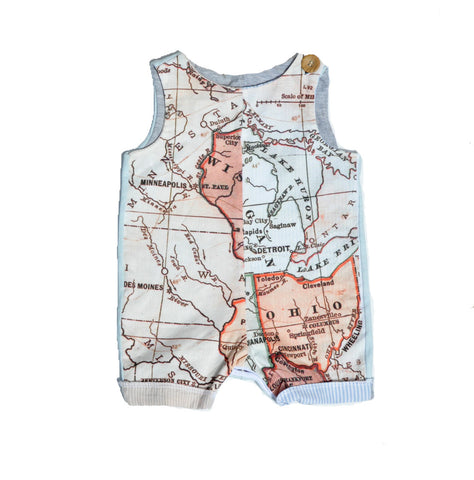 Sleeveless Creeper in Map Print
