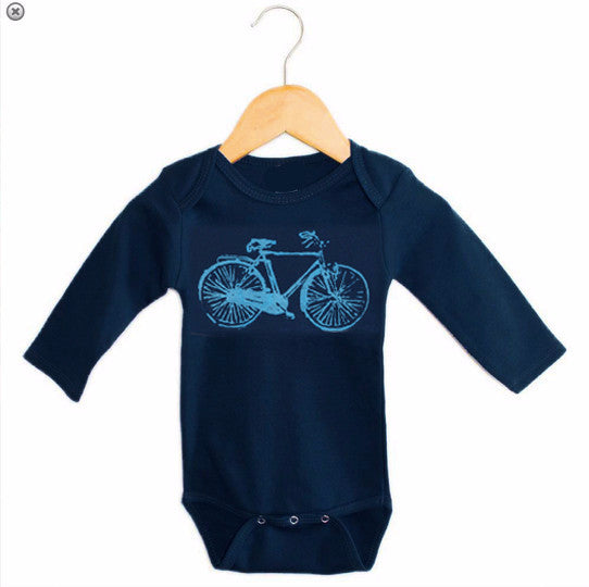 Onesie - Navy Bike Print