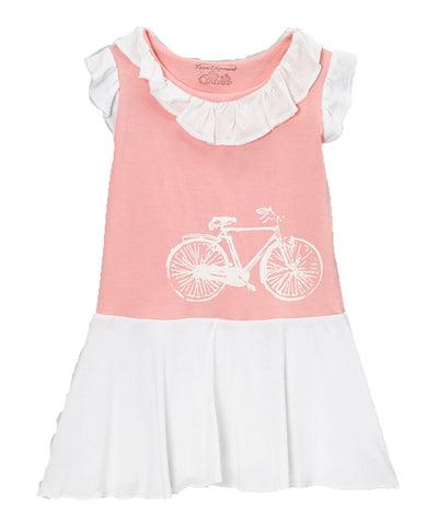 Jersey Flapper Dress - Pink Bike