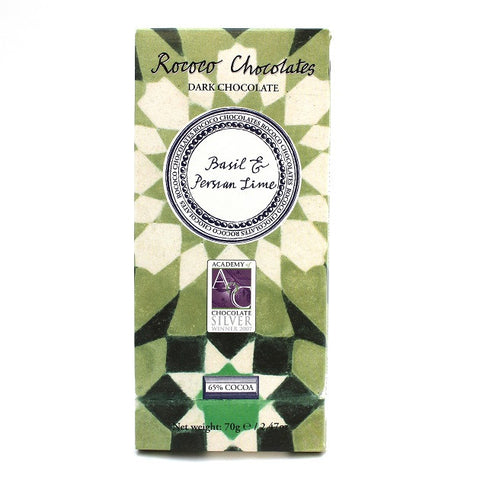 Basil & Perisan Lime Organic Dark Chocolate Artisan Bar