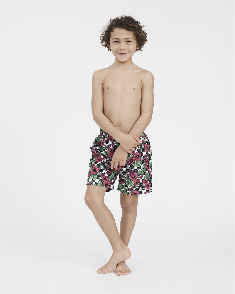 Boardies® Kids Checker Flower Shorts - Boardies®