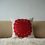 Red Big and Little Circles, natural linen cushion cover