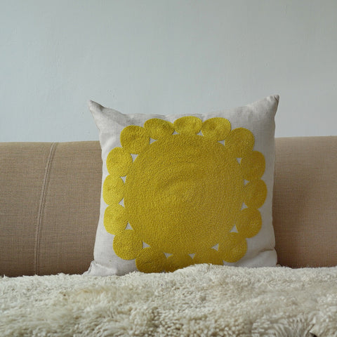 Yellow Big and Little Circles, natural linen cushion cover