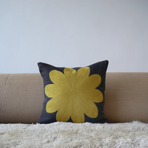 Yellow Big Flower, grey Linen cushion cover