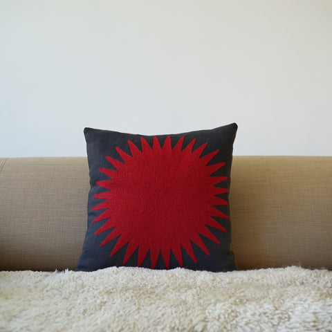 Red Sun, Grey linen cushion cover