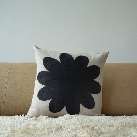 Grey Big Flower, natural linen cushion cover