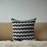 Grey Wave, natural linen cushion cover