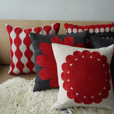 Big Flower Red, grey Linen cushion cover