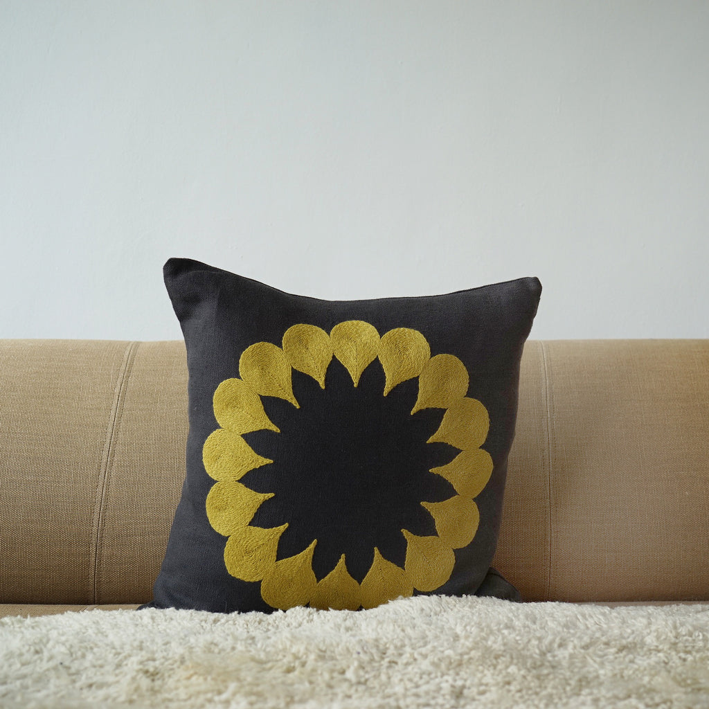 Yellow Raindrop, Grey linen cushion cover
