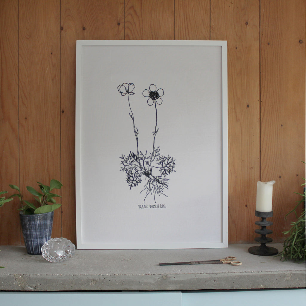 Ranunculus (buttercup) Embroidery on white linen, 50cm x 70cm