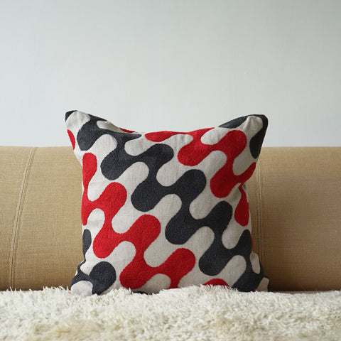 Red and Grey Ripple, cushion cover