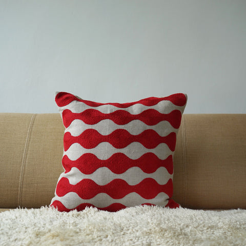Red Bobble, natural linen cushion cover