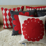 Red and Grey Pantile, natural linen cushion cover