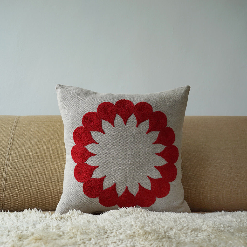 Red Raindrop, natural linen cushion cover